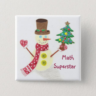Happy snowman, Math Superstar 2 Inch Square Button