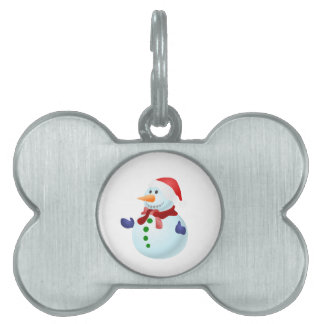 Happy Snowman Pet Name Tag
