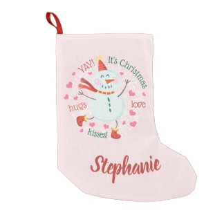Happy Snowman Pink Christmas Small Christmas Stocking