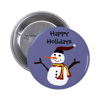 Happy Snowman Primitive Art Design 2 Inch Round Button