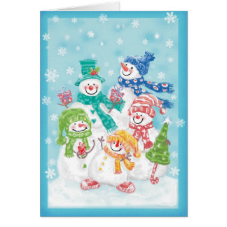 Happy Snowman Retro Christmas Card