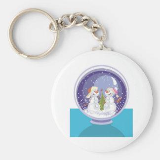 Happy Snowman Snow Globe Basic Round Button Keychain