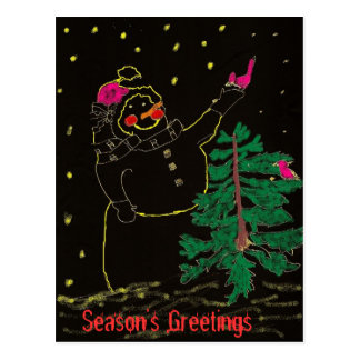 Happy Snowman with Christmas Tree Postcard