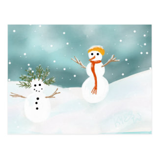 Happy Snowmen Postcard
