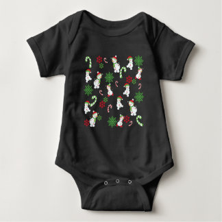 Happy Snowmen Snowflakes Candy Canes Pattern Baby Bodysuit