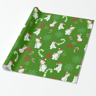 Happy Snowmen Snowflakes Candy Canes Pattern Wrapping Paper