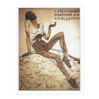 Happy Soviet Worker 1919 Postcard