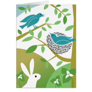 Happy Spring Birds & Bunny Greeting Card