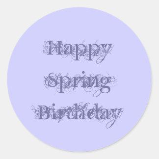 Happy Spring Birthday, grunge text purple on mauve Round Sticker