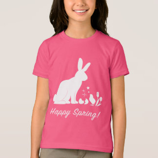 Happy Spring Bunny, Chick and Tulips in Silhouette T-Shirt