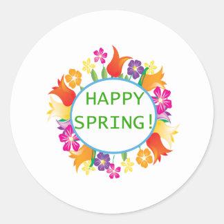 Happy Spring Classic Round Sticker
