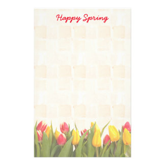 Happy Spring Colourful Tulips Stationery