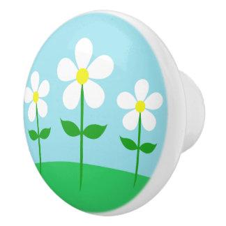 Happy Spring Daisies Ceramic Knob