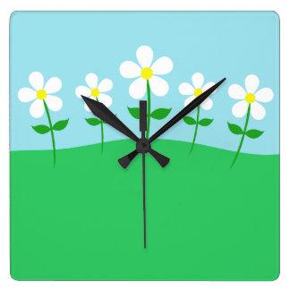 Happy Spring Daisies Clock