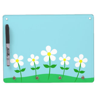 Happy Spring Daisies Dry Erase Board With Keychain Holder