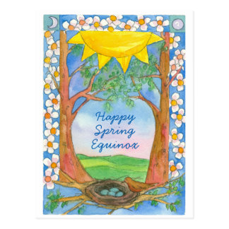 Happy Spring Equinox Sunshine Bird Trees Nature Postcard