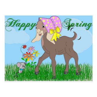Happy Spring Goat Postcard