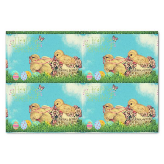 Happy Spring, Joyful Easter. Tissue wrapping. Tissue Paper