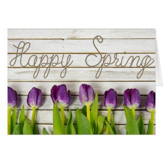 Happy Spring purple tulips Card