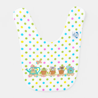 Happy Spring Train Ride Animal Baby Bib