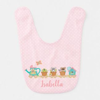 Happy Spring Train Ride Animal Baby Bib Pink