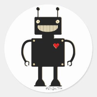 Happy Square Robot 1 Round Sticker