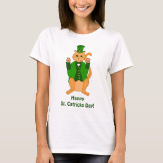 Happy St. Catrick's Day Lucky Cat Leprechaun Funny T-Shirt