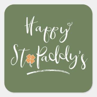 Happy St. Paddy's Orange Shamrock ID336 Square Sticker