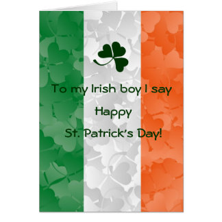 Happy St Patrick Day and Irish flag Note Card