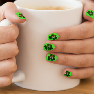 Happy St. Patrick Irish Flag Colors Shamrock Green Minx Nail Art