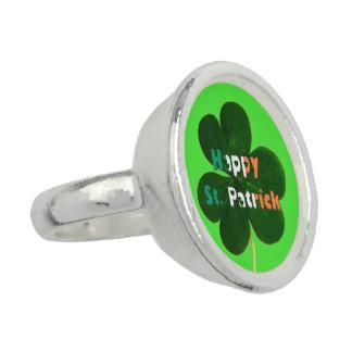 Happy St. Patrick Irish Flag Colors Shamrock Green Ring
