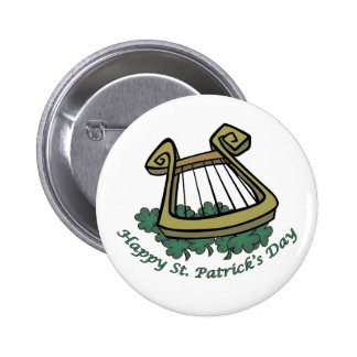 Happy St Patrick s Day Harp Pinback Buttons