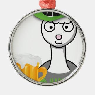 happy st patricks day alpaca metal ornament