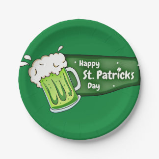 Happy St Patricks Day Beer Banner Paper Plate