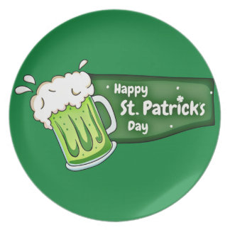 Happy St Patricks Day Beer Banner Party Plate