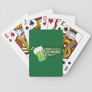 Happy St Patricks Day Beer Banner Playing Cards