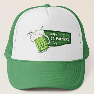 Happy St Patricks Day Beer Banner Trucker Hat