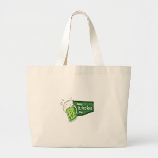 Happy St. Patricks Day Beer Large Tote Bag