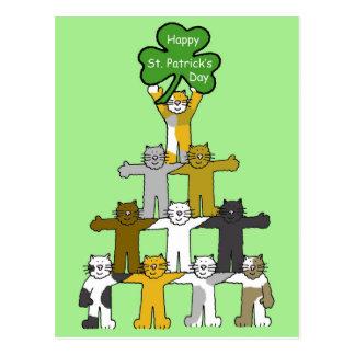 Happy St Patrick's Day Cartoon Cats Postcard