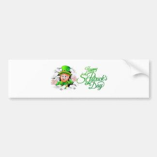 Happy St Patricks Day Cartoon Leprechaun Bumper Sticker
