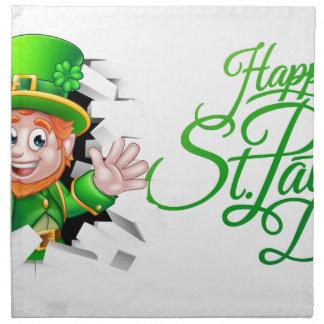 Happy St Patricks Day Cartoon Leprechaun Napkin