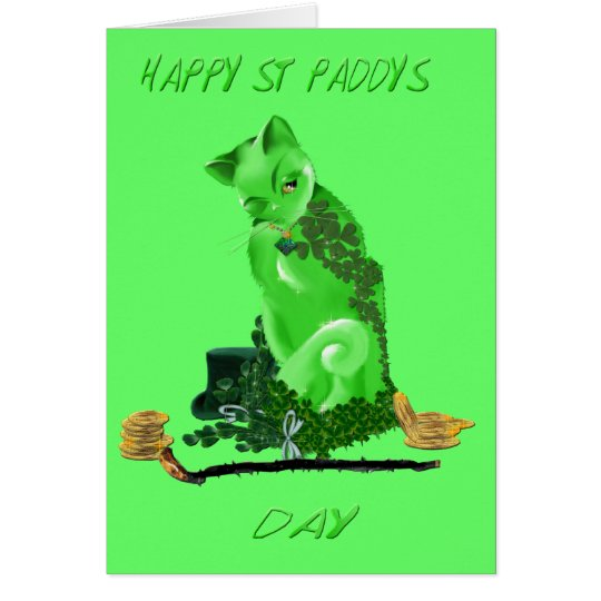 Happy St. Patricks Day Cat Card