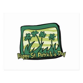 Happy St. Patrick's Day Clovers Postcard