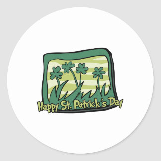 Happy St. Patrick's Day Clovers Round Sticker