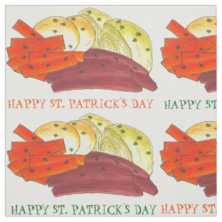 Happy St Patrick's Day Corned Beef Cabbage Fabric