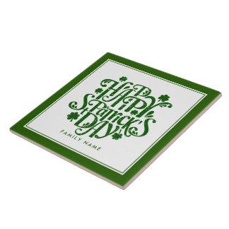 Happy St Patrick's Day Elegant Typography Design Tile