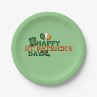 Happy St Patricks Day Embellished 7 Inch Paper Plate