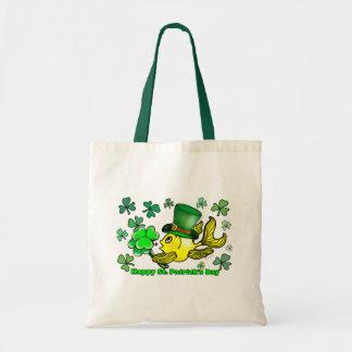 Happy St. Patrick's Day Goldfish Green Shamrocks Tote Bag