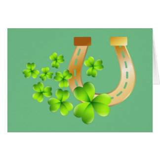 Happy St. Patrick's Day Good Luck Horse Shoe Note Card