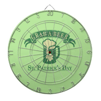 Happy St Patrick's Day Grab A Beer Dartboard